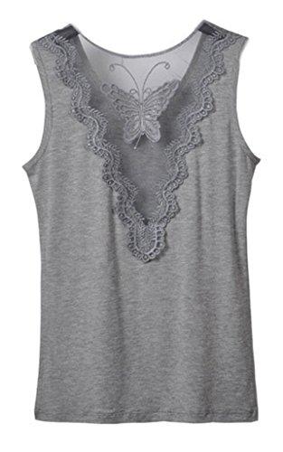 Smile YKK Femme Tops T-shirt Débardeurs Broderie Papillon Uni Gris