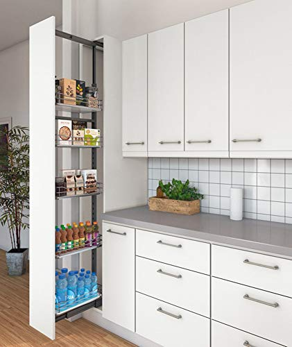 Hochschrank-Auszug Vollauszug Apotheker-Hochschrank mit 5 Einhängetablar   Frontauszug für Korpusbreite 300 mm   Höhe 1900-2200 mm   Apothekerauszug mit Dämpfung   1 Komplett-Set für Küchen-Schränke