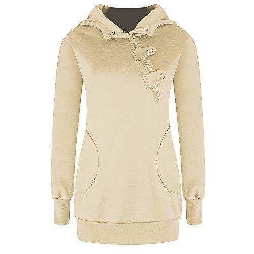 TYHHK Frauen Langarm Pullover Pullover Mantel Sweatshirt Outwear Pullover Beige