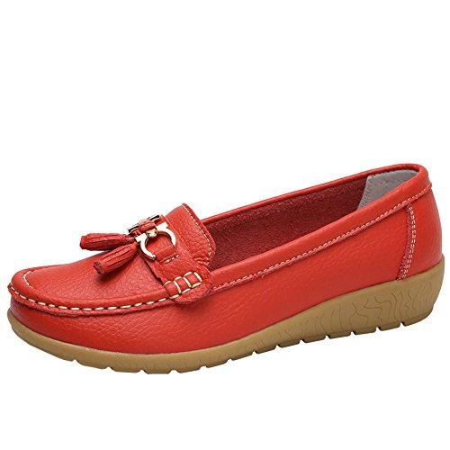 Erbsenschuhe Damen Moccasins Freizeit Atmungsaktiv Flache Schuhe Mehrfarben Optional Große Größe Runde Kopf Loch Schuhe Wild Slip-On Sandalen Damenschuhe Flatschuhe Halbschuhe Bootsschuhe für Mädchen Penny-plattform Sandal