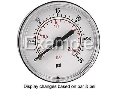 1/10.16 cm hinten Eintrag Manometer 0-20 bar 0-300 psi BSPT 50 mm breit) (300 Psi Gauge)