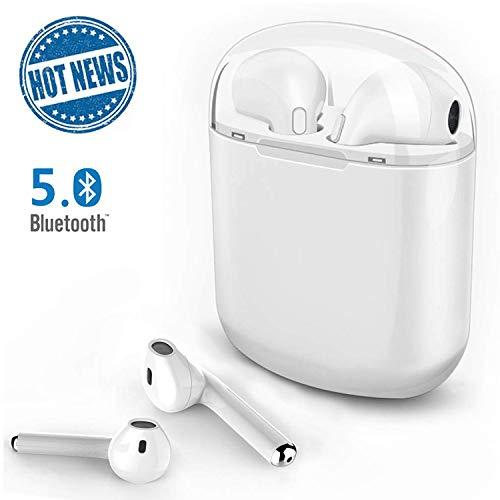 Versione aggiornata dell'auricolare bluetooth i8x, v5.0 cuffie senza fili bluetooth, stunning stereo, con microfono e scatola di ricarica, per iphone samsung e altri smart phone (bianco)