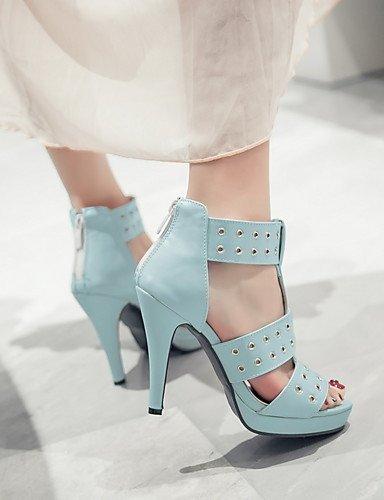 LFNLYX Chaussures Femme-Mariage / Habillé / Soirée & Evénement-Noir / Bleu / Blanc-Talon Aiguille-Talons / A Plateau-Sandales-Similicuir Blue