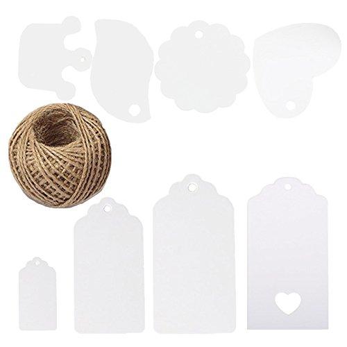 t geformte Herz, rund Rechteckige Krone Kraftpapier Geschenkanhänger blanko Papier Label mit 30Meter Jute Bindfäden für Hochzeit Geburtstag Geschenk Dekoration (Labels Für Baby-dusche)