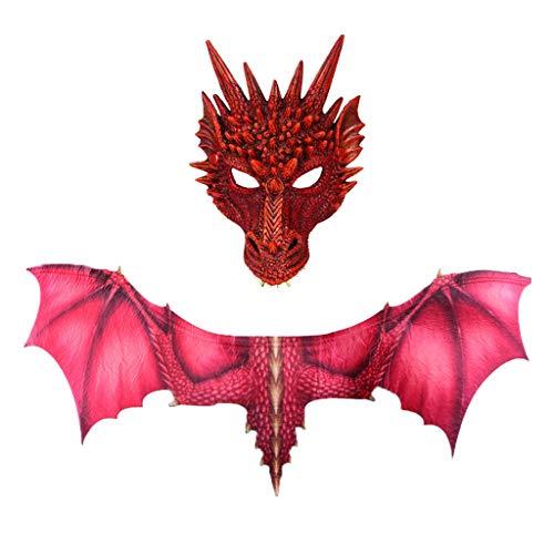 Mädchen Kostüm Pokemon Ash - Lazzboy Fantasy Halloween Dinosaurio Dragon Kostüm Cosplay Tiermaske Flügel Zubehör(Rot)