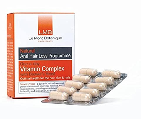 LMB - Anti Hair Loss One-A-Day Vitamin Complex with Brewer's Yeast 30 caps No added colours. No artificial fragrances. No artificial preservatives .Vegan. No animal testing.