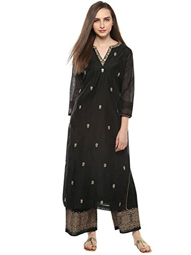 Bhama Couture Black Embroidered Kurta Sets for Women(BCC009)