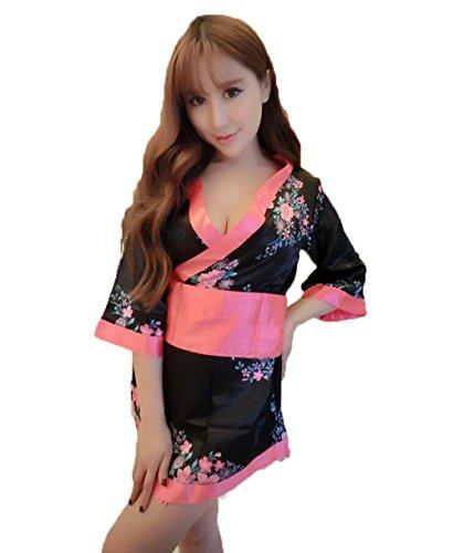 Floral Scarf Belt (GBT Japanische sexy Versuchung Kimono mit Student Performance Bekleidung , black floral , one size)