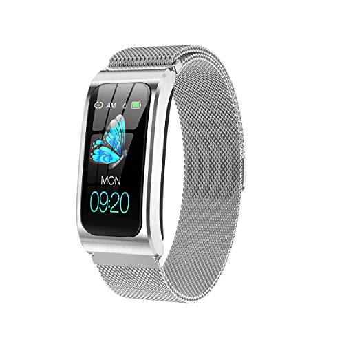Fitness Tracker, Aktivitätsuhr mit Pulsmesser, Wasserdichtes Smart Fitness Band mit Schrittzähler, Kalorienzähler für Damen und Herren,Silver