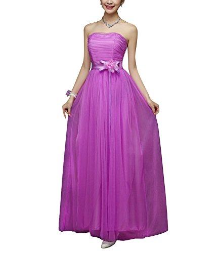 Brinny Femme demoiselle d'honneur Robe Longue Maxi Tulle sans bretelle Fleur decor Plissé Robe de Marié Banquet Costumes Multi-style Violet
