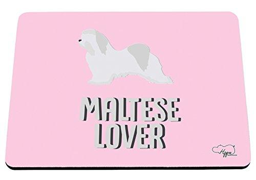 hippowarehouse Malteser Lover bedruckt Mauspad Zubehör Schwarz Gummi Boden 240mm x 190mm x 60mm, rose, Einheitsgröße (Mops-boxer Für Männer)