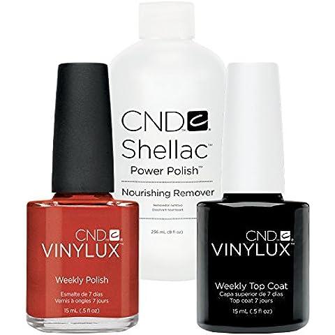 CND Vinylux Vermilion Belle Finitura più 15 ml, più 236 ml Shellac Remover, 1 pacchetto (1 x 0,266 l)