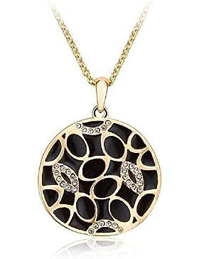 J&F - Halskette mit anhänger rundschreiben emailliert schwarz und Swarovski Kristalle Kristall, vergoldet Gelb