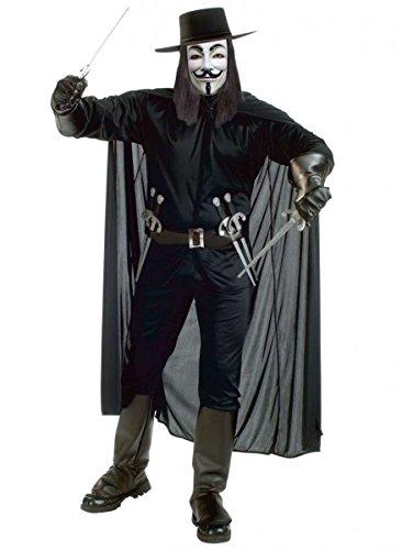 Anonymous Kostüm mit V wie Vendetta Maske, Guy Fawkes, Größe:M-L