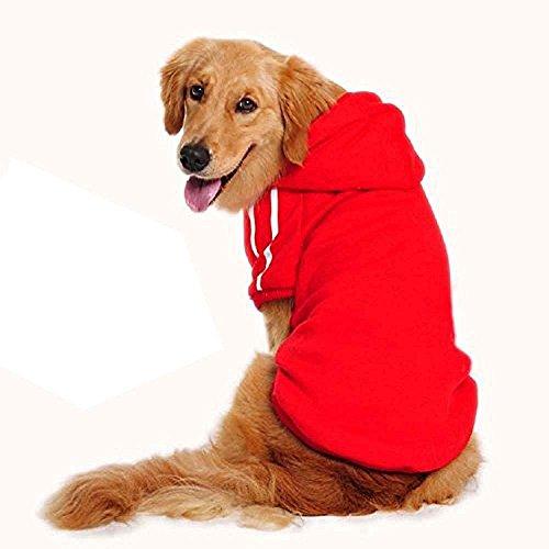 Pet Leso Hund Sweatshirt mit Kapuze Sportkleidung Rot 5XL-Hals:60cm Brust:90cm Length:65cm Empfohlenes Gewicht: 22-27kg