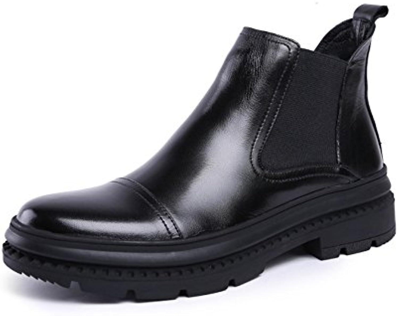 Männer   mode   stiefel  hohe stiefel fuumlr Männer kleid lederstiefel mit dicken unteren ärmel martin stiefel schwarz 40