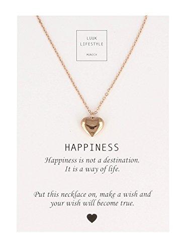 LUUK LIFESTYLE Damen Schmuck, Halskette mit Herz Anhänger und Happiness Spruchkarte, Glücksbringer, rosé