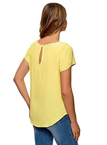 oodji Ultra Mujer Blusa Ancha con Escote Gota en la Espalda, Amarillo, ES 34/XXS