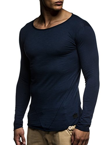 LEIF NELSON Herren Pullover Rundhals-Ausschnitt | Schwarzer Männer Longsleeve | dünner Pulli Sweatshirt Langarmshirt Crew Neck | Jungen Hoodie T-Shirt Langarm Oversize | LN6302 Dunkel Blau Large