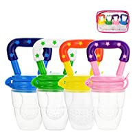 TourKing 4pcs Baby Food Fresh Fruit Feeder Pacifier Set Baby Food Supplement Feeding Device(S/M/L)
