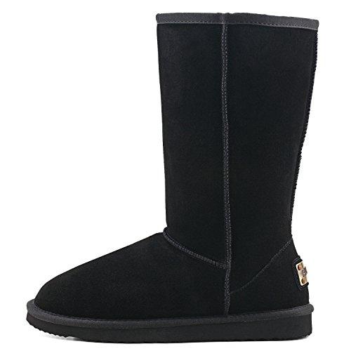 Shenduo Donna Slip Boots Stivali Alti Invernali Stivali Invernali In Pelle Stivali Classici Da5815 Neri