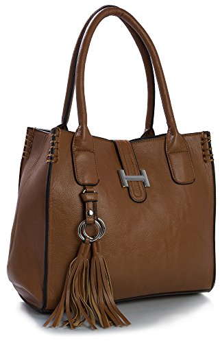 Borsa a mano da donna, in similpelle, dimensioni medie, con astuccio per il make up Marrone (Dark Tan)