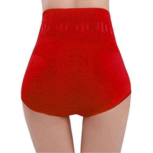 URSING Damen Hohe Taille Tummy Control Body Shaper Unterwäsche Bauchkontrolle Körperformer Slip kurz Abnehmen Slimming Hose Shapewear Sexy Figurformende Miederpants Miederhose (Rot) (Control Baumwolle Slip Bauch)