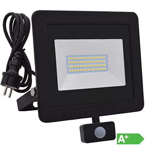 Lumare 30W LED Strahler mit Bewegungsmelder und Anschlußstecker 3600lm außen und innen IP65 ersetzt ca. 300W mini Flutlicht Lampe 3000K warmweiß 230V