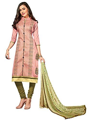 Priyavadhu Women's Glaze Cotton straight Unstitched Salwar kameez Dress material (BLNZ5111_Peach _Free...