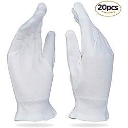 Beauty Care tragen groß weiß Baumwolle Handschuhe für Neurodermitis, trockene Haut, & feuchtigkeitsspendende - 20 Handschuhe
