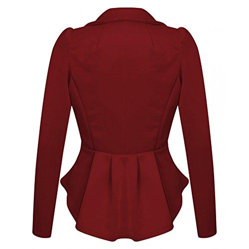 Ladies Plus Size One Button volanté Peplum Blazer EU Taille 44-52 Du vin
