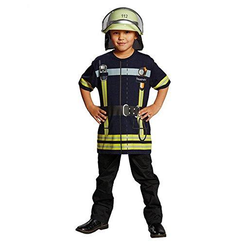 Spiel-Shirt Feuerwehrmann für Kinder T-Shirt bedruckt Feuerwehr Uniform Kostüm (Für Feuerwehrmann-uniform Kinder)