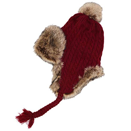 LUCKME Gestrickte Wollmütze, Imitat Fox Pelz Trooper Trapper Bomber Hat Plus Samt gepolstert warme Ohrenschützer für Skating Skifahren Andere Outdoor-Aktivitäten,Red (Red Fox Pelz)