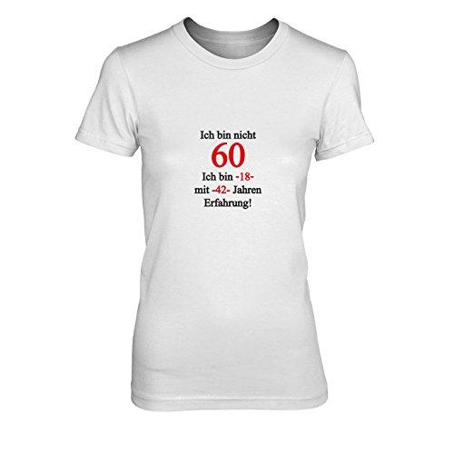 Ich bin nicht 60 - Damen T-Shirt, Größe: XL, Farbe: weiß