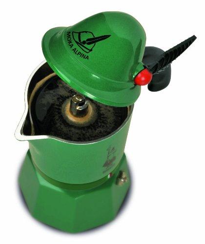 Bialetti Alpina, cafetera de aluminio verde, 3 tazas