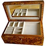 Handmade Large Wooden Jewellery Box, with Mirror, and Tray, Lockable