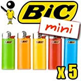 5 x New Mini BIC Lighter Child Resistant Assorted Colours
