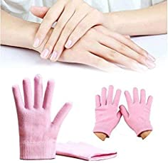 RED ROSE Gel Moisturizing Spa Gloves Soft Cotton with Thermoplastic Gel Repair Heal Eczema Cracked Dry Skin, Gel Lining Infused with Essential Oils and Vitamins, Best Gift