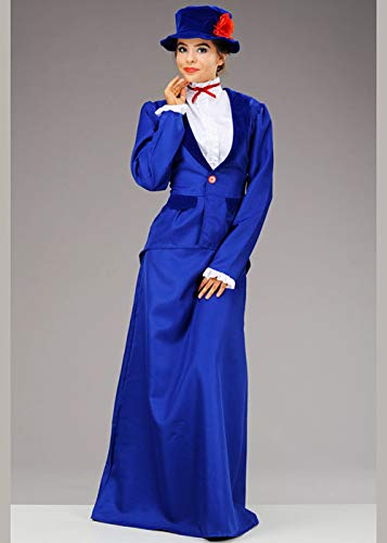 Magic Box Int. Damen Mary Poppins Style Blue Victorian Nanny Kostüm Large (UK ()
