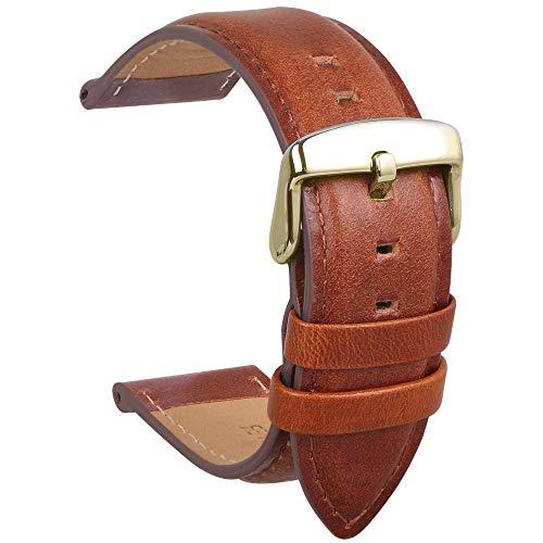 Echtes Leder Uhrenarmband Wasserdichtes Kalbsleder Extra Soft Strap Ersatz Und Frühling Bar Reparatur-Werkzeuge Männer Frauen Geschenk 22MM Braun