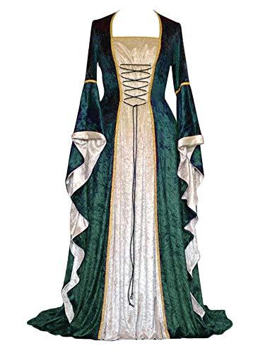 ZhuiKunA Damen Retro Mittelalter Renaissance Kostüm,Lange Ärmel Party Kleid Grün XL