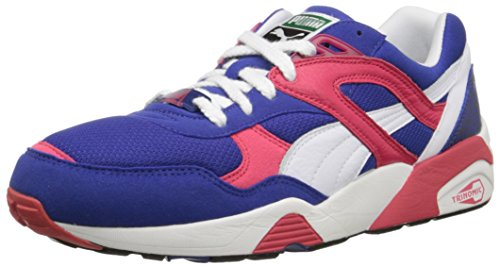 Puma Trinomic R698 Lace-up Fashion Sneaker Mazarine Blue/White/Teaberry Red