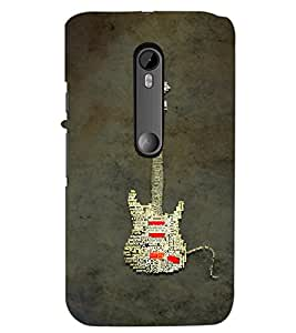 PrintDhaba Typographic Guitar D-3857 Back Case Cover for MOTOROLA MOTO G3 (Multi-Coloured)