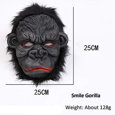 Männer Kostüm Pair Mädchen - WSCOLL Realistische Schwarze Gorilla Maske Mann Horror Maske Copsplay Party Maske für Erwachsene Halloween Maskerade Silikon Gesichtsmaske LatexLächeln Gorilla