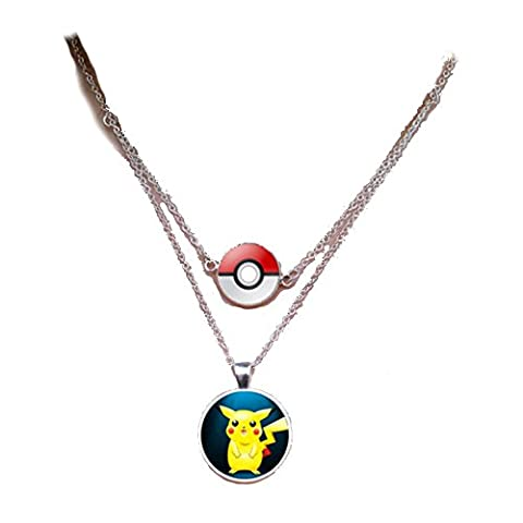 Pokemon double Pendentif Pikachu verre Cabochon