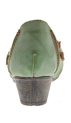 TMA Damen Ballerinas Echt Leder Pumps Comfort Leder Schuhe Slipper TMA 8787 Gr. 36-42 Grün