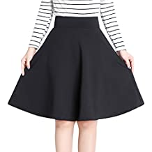 Falda de Color Solido OL de Cintura Alta Completos Plisados Grandes Dobladillo Faldas Midi Moda