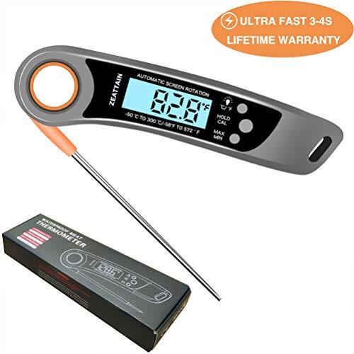 Zeattain Termometro da Cucina, 180° Termometro Pieghevole per Carne, BBQ, Grill, Barbecue, Latte, Cibo, Acqua, Bagno, Yogurt