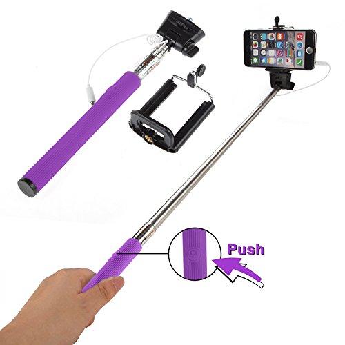 Selfie Stick Stange für Samsung Galaxy Stativ Teleskop AUX Selbstauslöser Stativadapter Universal Selfie Teleskobstab IOS Android Selfie Teleskopstab Selfi Stick Selfi Stab (Lila)