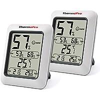 ThermoPro TP50 2 Piezas Termómetro Higrómetro Digital Medidor de Humedad y Temperatura Interior Termohigrómetro Profesional para Medición de Casa Habitación Hogar Oficina Ambiente